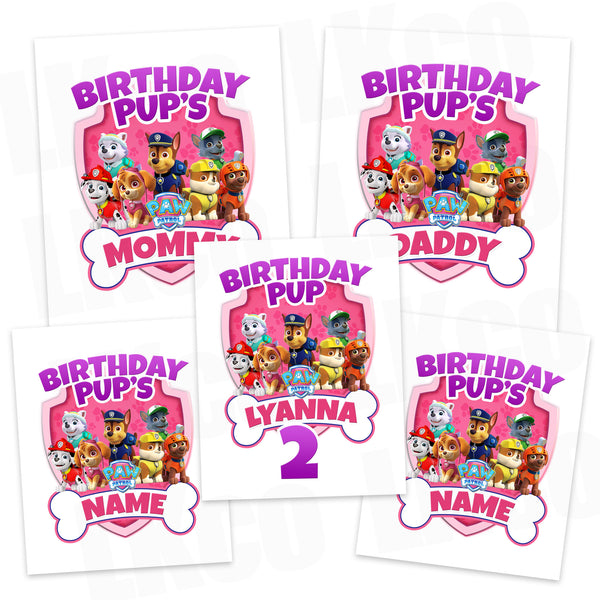 Paw Patrol Iron On Transfers Family Pack | Pink Bone - LuvibeeKidsCo