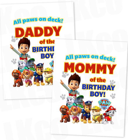 Paw Patrol Iron On Transfer - All Paws On Deck | Birthday Boy's Mommy & Daddy Set