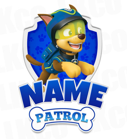 Paw Patrol Iron On Transfer - Add Family Member | Chase Blue