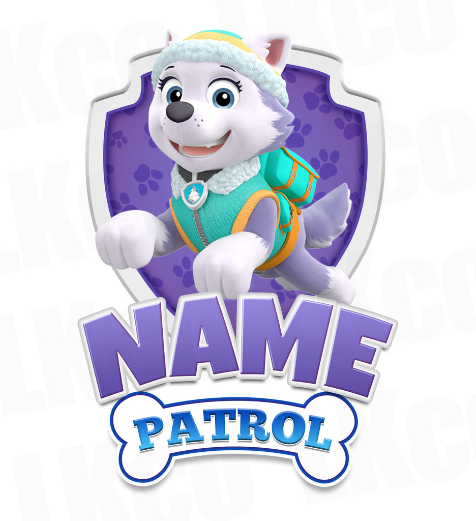 Paw Patrol Iron On Transfer - Add Family Member | Everest Purple