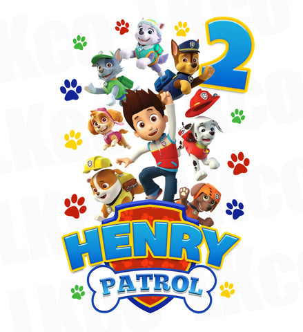 Paw Patrol Iron On Transfer - Patrol Birthday