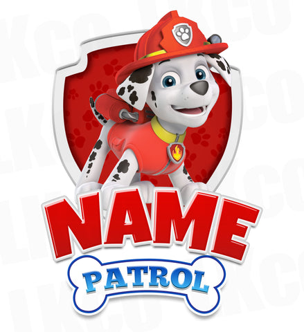 Paw Patrol Iron On Transfer - Add Family Member | Marshall Red