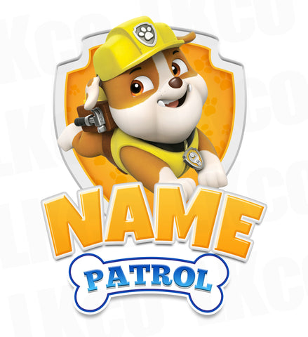 Paw Patrol Iron On Transfer - Add Family Member | Rubble Yellow