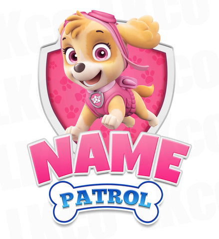 Paw Patrol Iron On Transfer - Add Family Member | Skye Pink