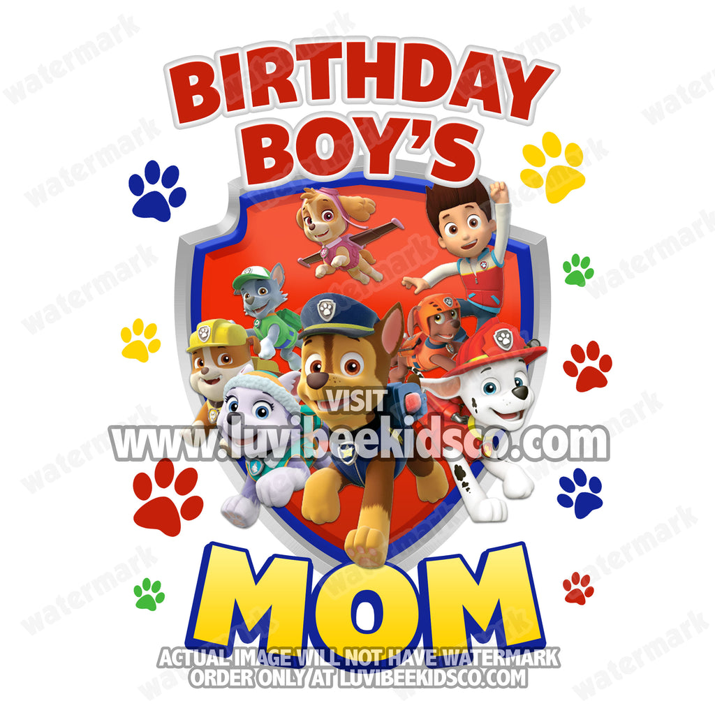 Paw Patrol Iron On Transfer | Primary Colors Paw Prints | Mom