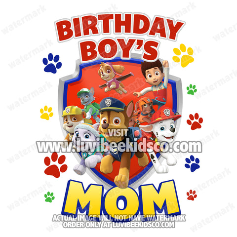 Paw Patrol Iron On Transfer | Primary Colors Paw Prints | Mom - LuvibeeKidsCo