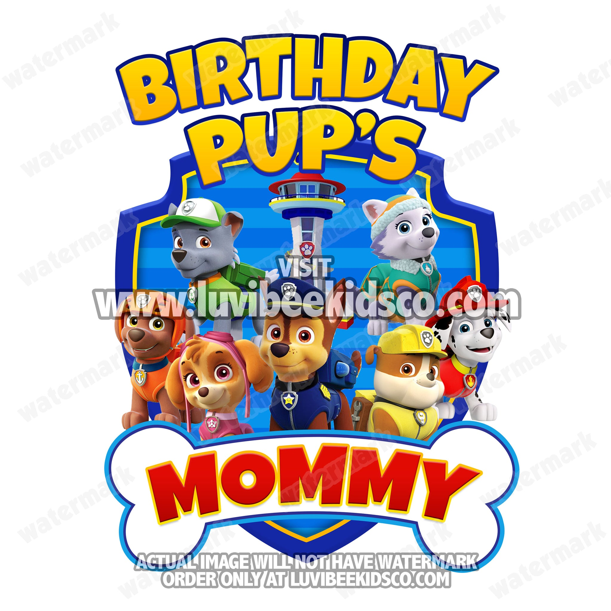Paw Patrol Iron On Transfer - Bone | Blue - Birthday Pup's Mommy - LuvibeeKidsCo