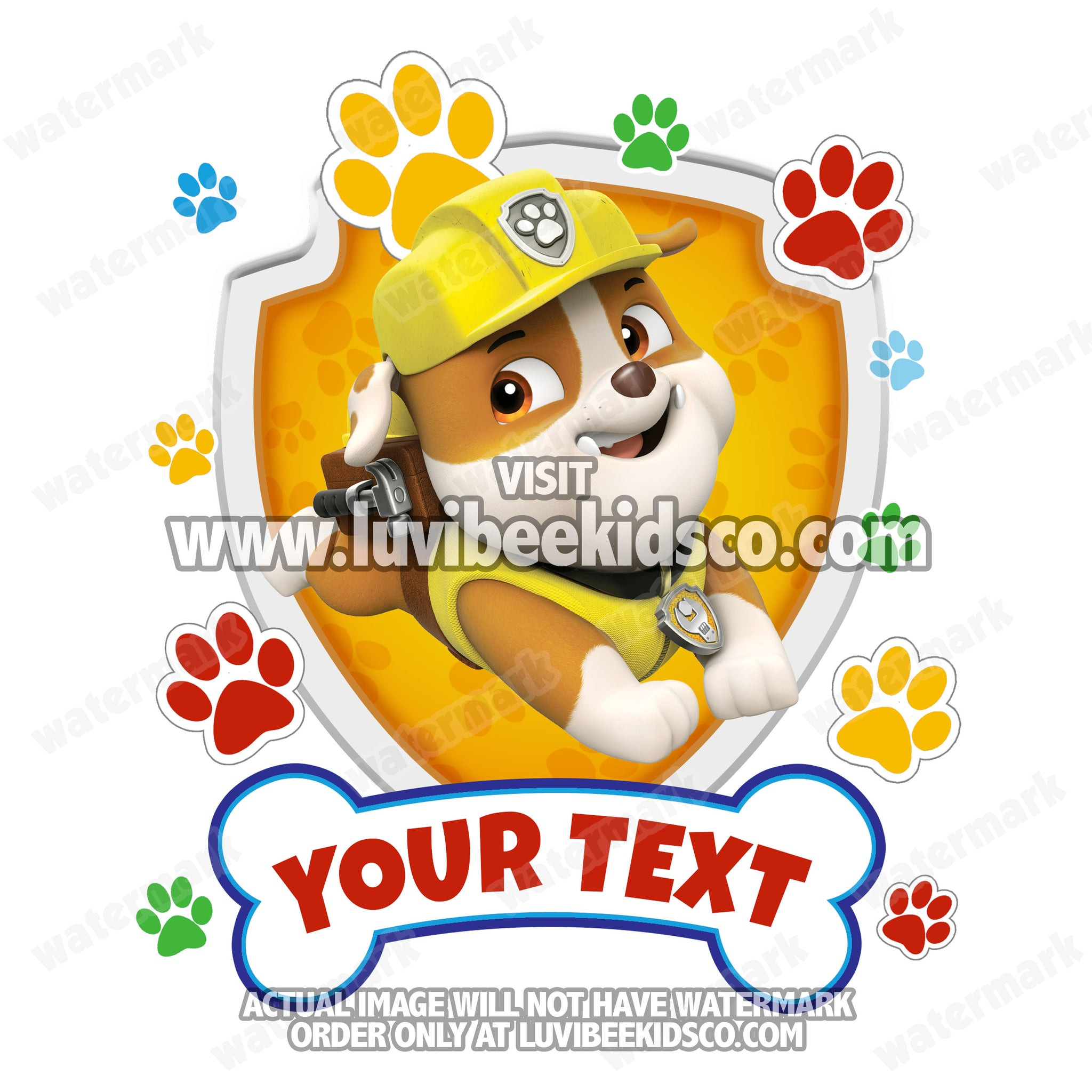 Paw Patrol Iron On Transfer - Paw Prints | Family Members Add-on - Rubble