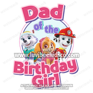 Paw Patrol Iron On Transfer | Pink | Dad of the Birthday Girl
