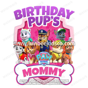 Paw Patrol Iron On Transfer - Pink Bone | Birthday Pup's Mommy - LuvibeeKidsCo