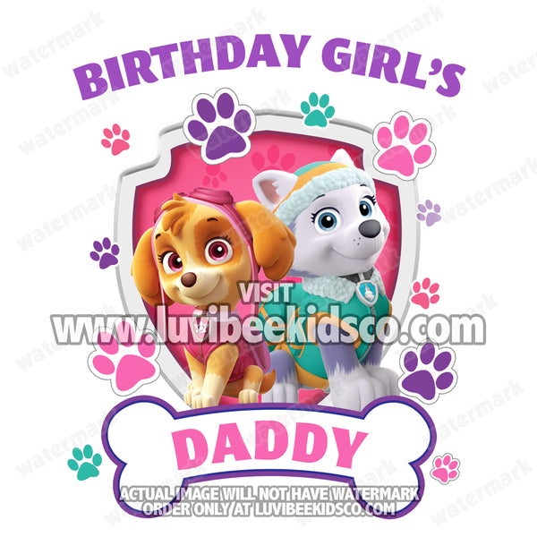 Paw Patrol Iron On Transfer - Girl's Paw Prints - Skye & Everest | Daddy - LuvibeeKidsCo