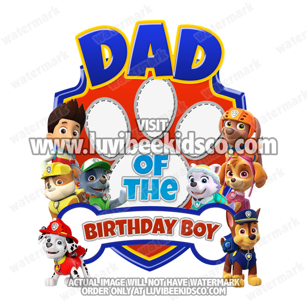 Paw Patrol Iron On Transfer | Paw Print | Dad - LuvibeeKidsCo