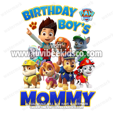 Paw Patrol Iron On Transfer - Blue | Birthday Boy's Mommy - LuvibeeKidsCo