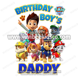 Paw Patrol Iron On Transfer - Blue | Birthday Boy's Daddy - LuvibeeKidsCo