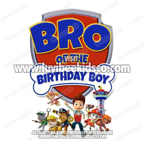 Paw Patrol Iron On Transfer - Birthday Boy's Bro - LuvibeeKidsCo