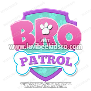 Paw Patrol Iron On Transfer - Patrol Pink | Bro Patrol