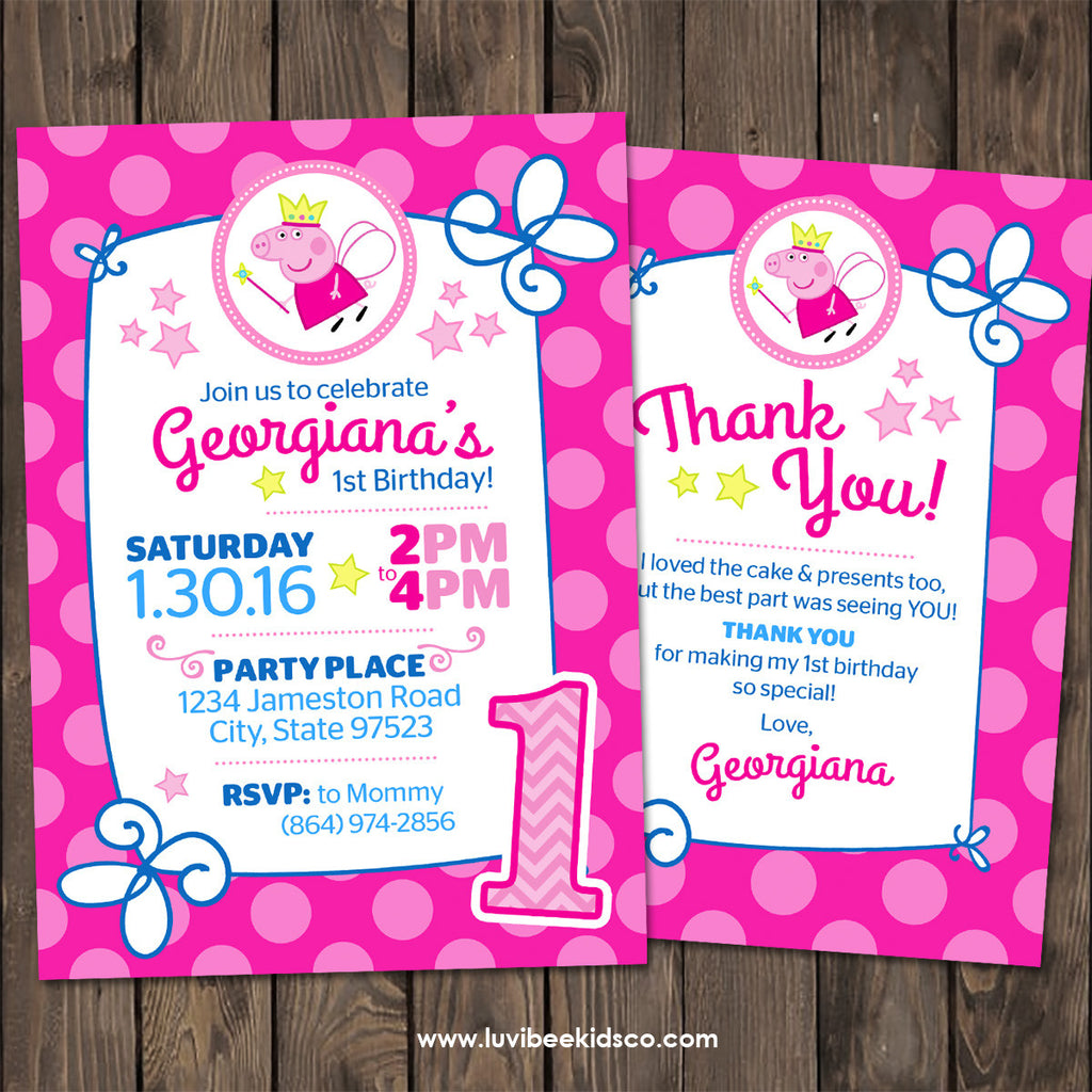 Peppa Pig Fairy Birthday Invitation
