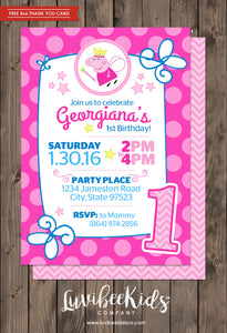 Peppa Pig Fairy Birthday Invitation | Free Backside & Thank You Card