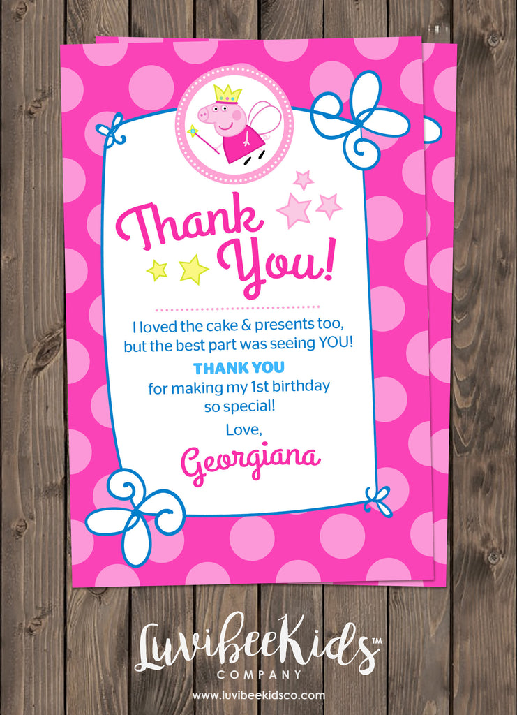 Peppa Pig Fairy Birthday Invitation Free Backside Thank You Card
