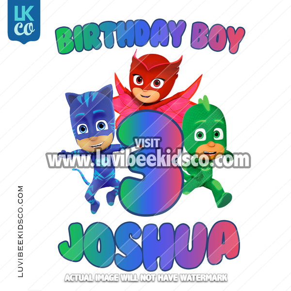 PJ Masks Iron On Transfer | Birthday Boy