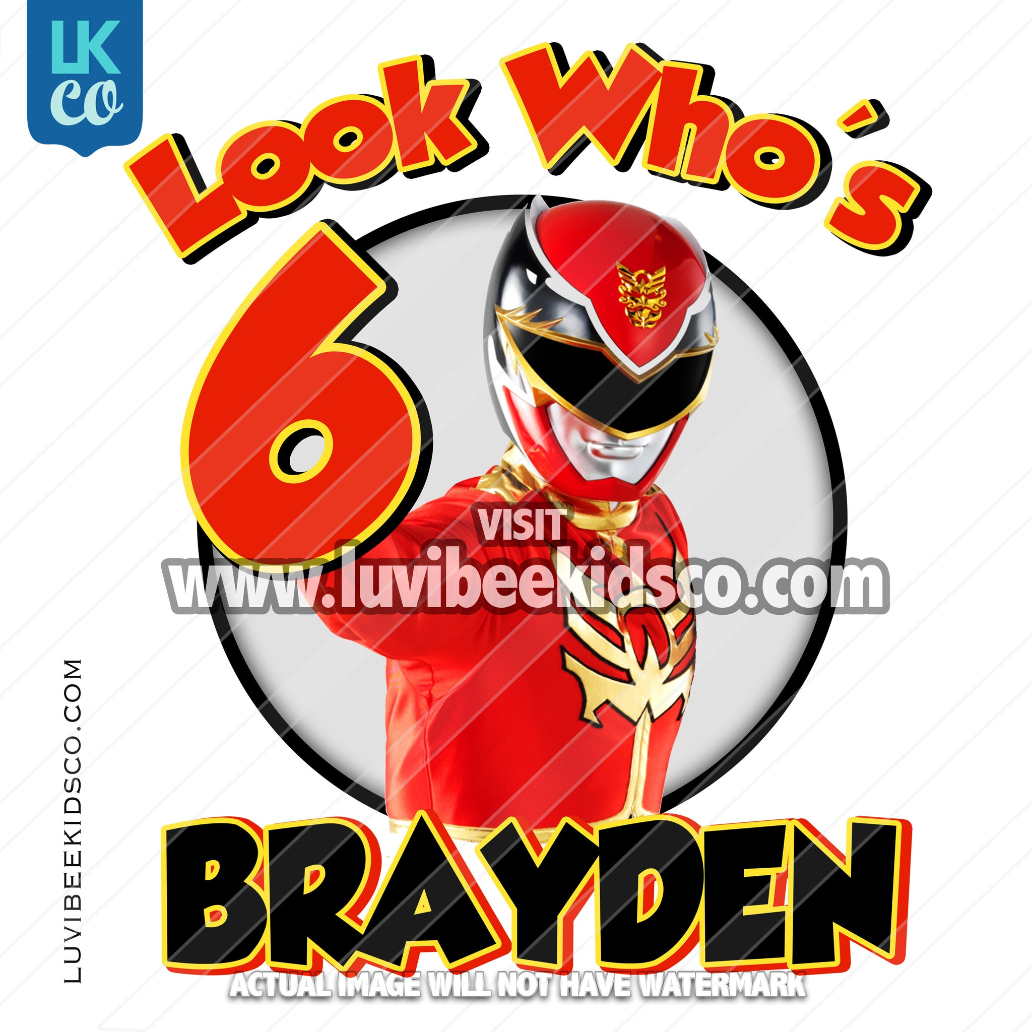 Red Power Ranger Iron On Transfer | Look Who's - LuvibeeKidsCo