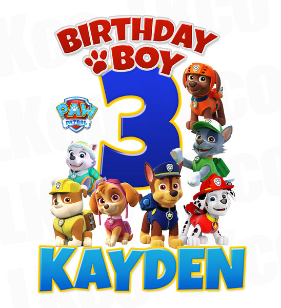 Paw Patrol Iron On Transfer | Birthday Boy - LuvibeeKidsCo