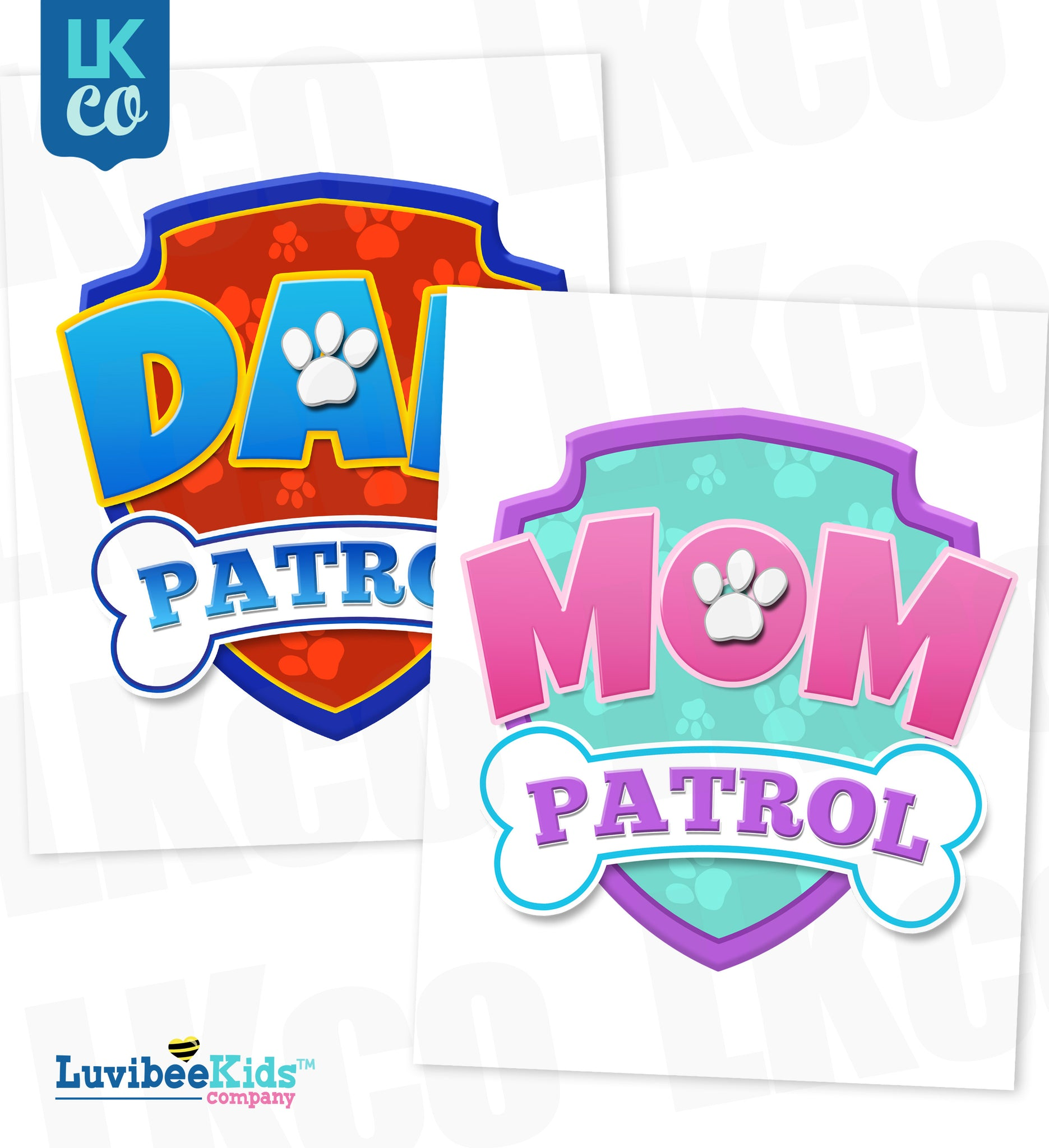 Paw Patrol Iron On Transfer - Patrol Blue & Pink | Dad & Mom Patrol Set