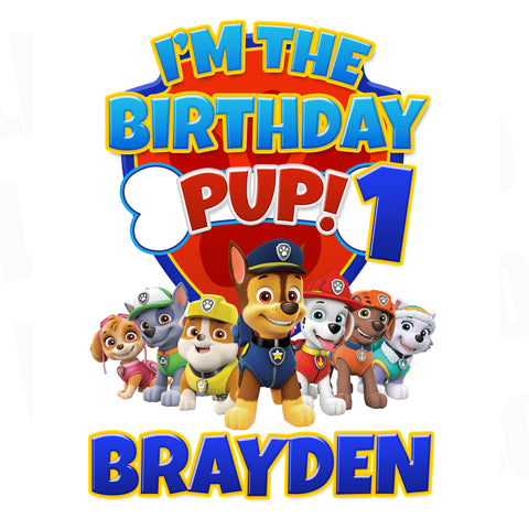 Paw Patrol Iron On Transfer | I'm the Birthday Pup