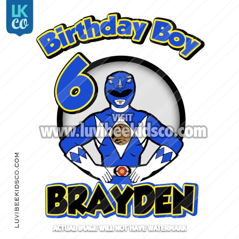 Blue Power Ranger Iron On Transfer | Birthday Boy - LuvibeeKidsCo