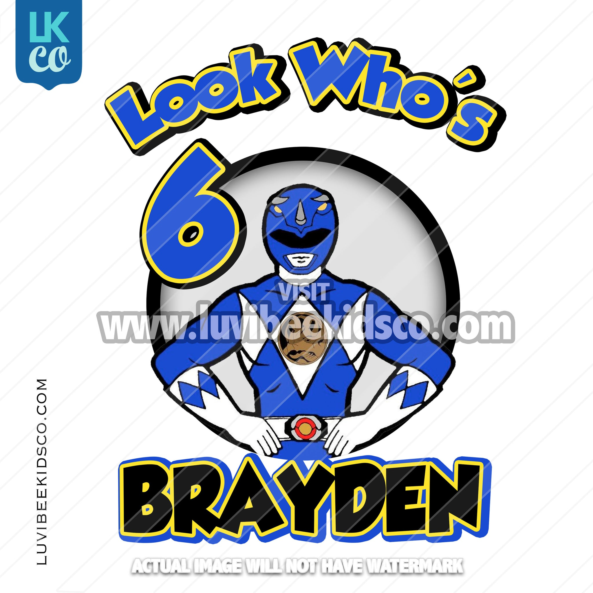 Blue Power Ranger Digital File [12-24hr email] for Birthdays and Events - Any Name and Age - Look Who's - LuvibeeKidsCo