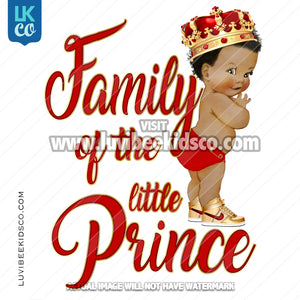 Royal Prince, Little Prince Baby Shower Iron On Transfer Design | Add Family Members - Red