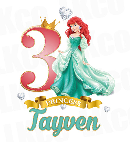 Princess Ariel Iron On Transfer for Birthday Girl