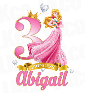 Princess Aurora Iron On Transfer for Birthday Girl