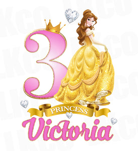 Princess Belle Iron On Transfer for Birthday Girl