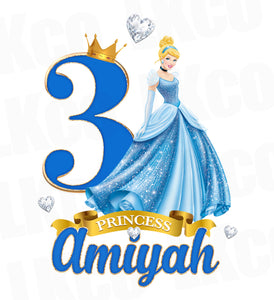 Princess Cinderella Iron On Transfer for Birthday Girl