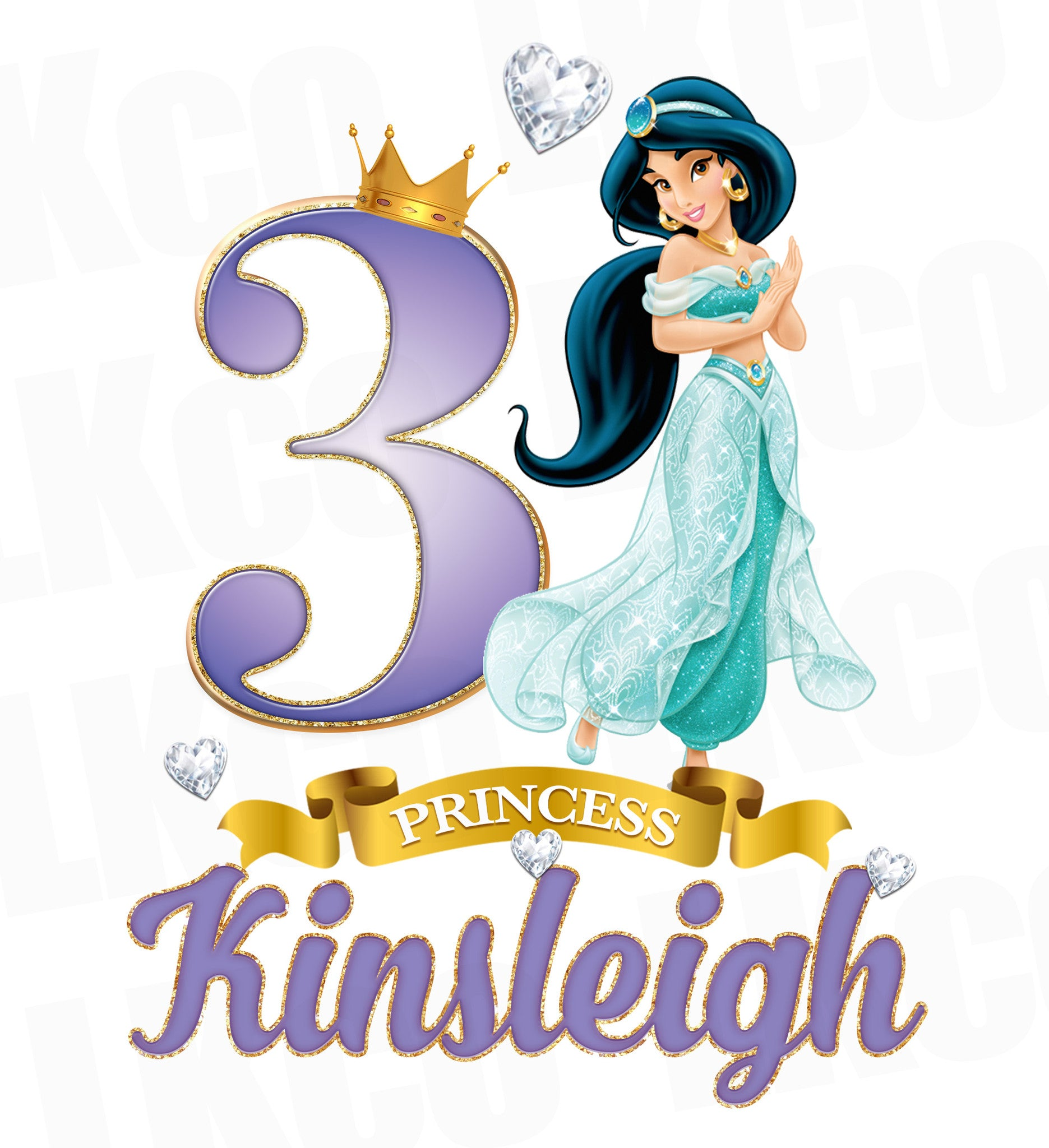 Princess Jasmine Iron On Transfer for Birthday Girl