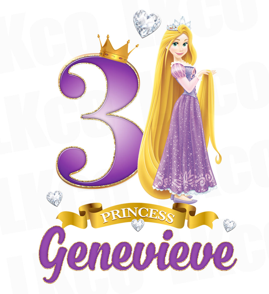 Princess Rapunzel Iron On Transfer for Birthday Girl