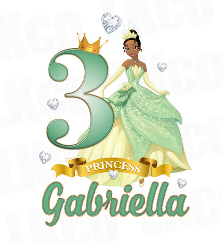 Princess Tiana Iron On Transfer for Birthday Girl