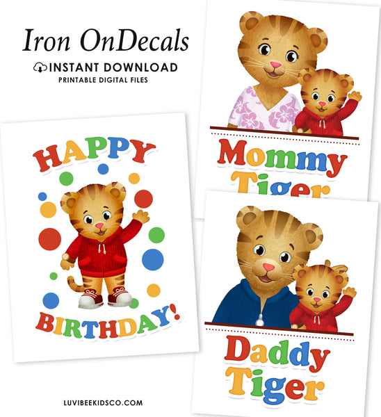 Instant Download Digital Files Only - Daniel Tiger Iron Ons Set of 3 Designs - LuvibeeKidsCo