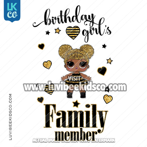 LOL Surprise Iron On Transfer Design - Birthday Girl - Queen Bee - Add Family Members - LuvibeeKidsCo