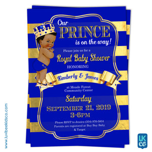 Royal Prince - Baby Shower Invitation - Blue & Gold
