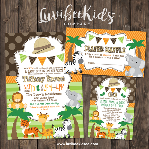 Cute Safari Animals Baby Shower Invitation Set | Book Request & Diaper Raffle - LuvibeeKidsCo