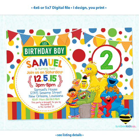 Sesame Street Birthday Invitation - Primary Colors - Style #01 - LuvibeeKidsCo