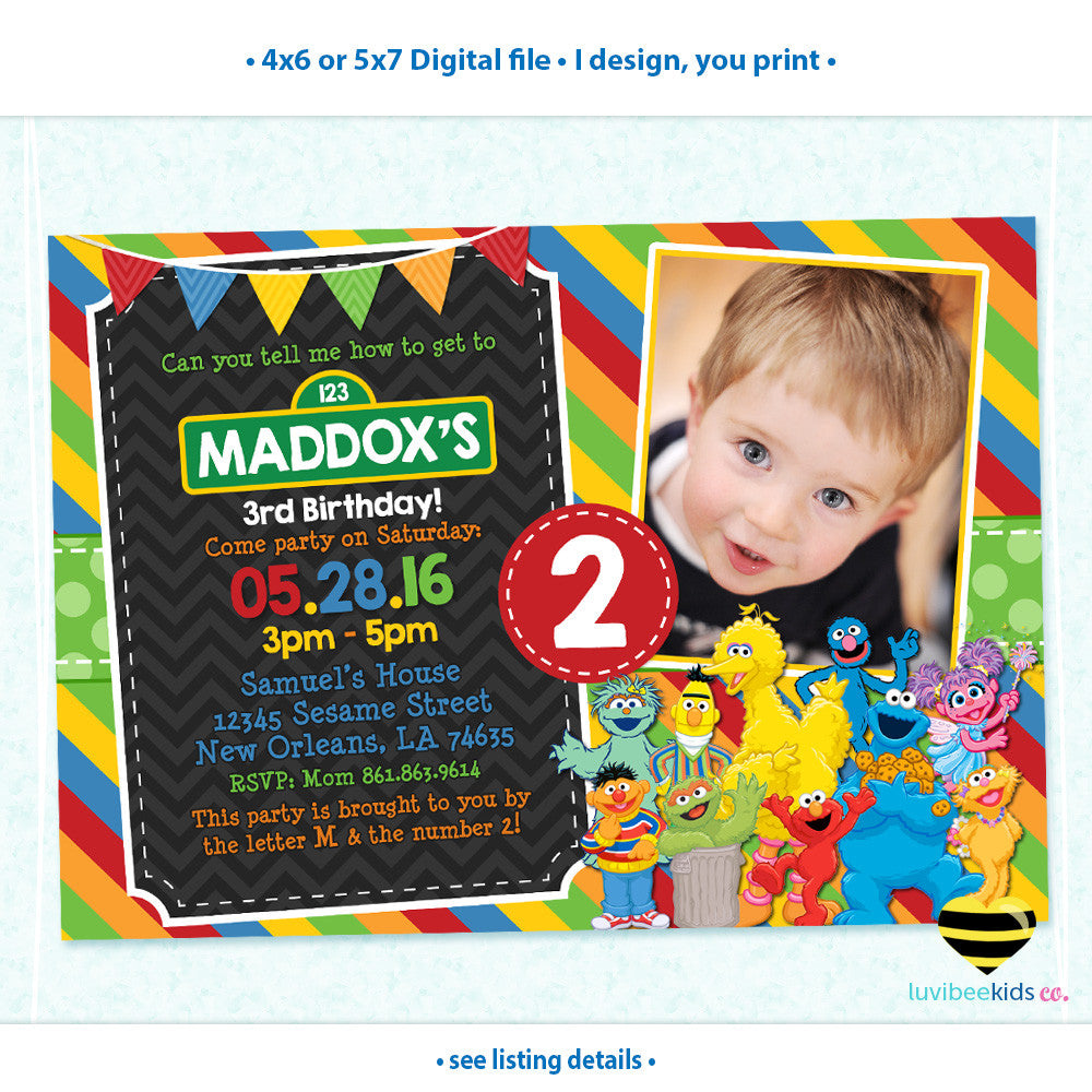 Sesame Street Birthday Invitation with Photo - Primary Colors - Style #03 - LuvibeeKidsCo