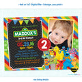 Sesame Street Birthday Invitation with Photo - Primary Colors - Style #03
