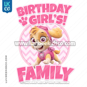 Paw Patrol Iron On Transfer | Skye all Pink | Family Members Add-On
