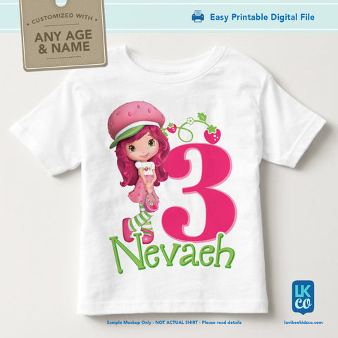 Strawberry Shortcake Iron On Birthday Shirt Transfer Design