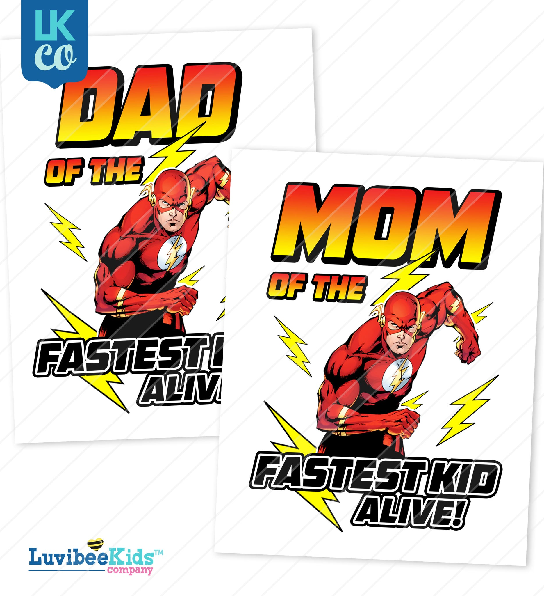The Flash Heat Transfer Designs - Mom & Dad Set - LuvibeeKidsCo