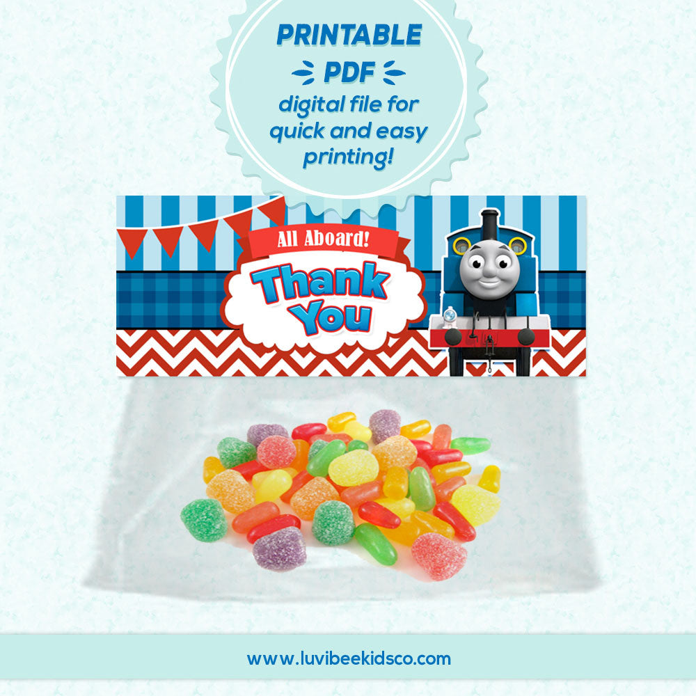 Thomas the Train - Thank You Favor Bag Toppers | Instant Download