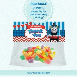 Thomas the Train - Thank You Favor Bag Toppers | Instant Download - LuvibeeKidsCo